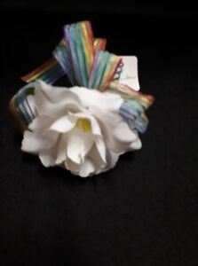 White Artificial Flower with Rainbow Ribbon