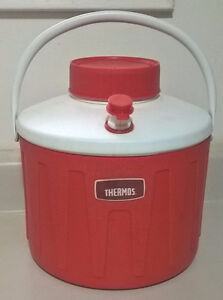 Vintage Thermos 1 Gallon Red  and White Plastic Jug