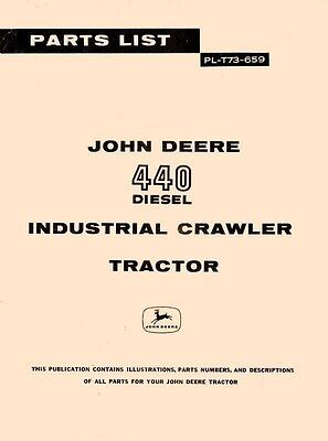 John Deere 440 Diesel Crawler Tractor Parts Manual Jd
