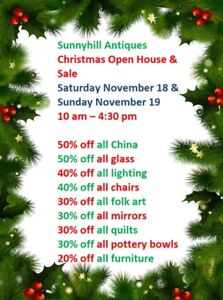 Sunnyhill Antiques Christmas Open House & Sale Sat. & Sun.