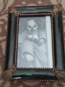 Antique Creepy Clown Framed Photo