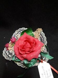 Pink Artificial Flowers with Green Ribbon