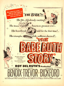 1948 full-page magazine ad for Movie The Babe Ruth Story