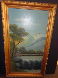 19th CENTURY OIL PAINTING Waterfall unsigned