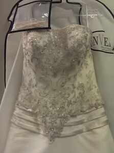 Beaded, lace, covered buttons long train wedding dress