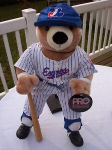 MONTREAL EXPOS PRO BEAR PELUCHE BASEBALL COMPLET
