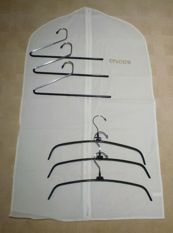 Gold Chico s 1 White Zipper Garment Travel Storage Bag 42 6 Chico Hangers - $14.99