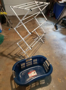 Mainstay folding dry rack and rubbermaid laundry dry basket