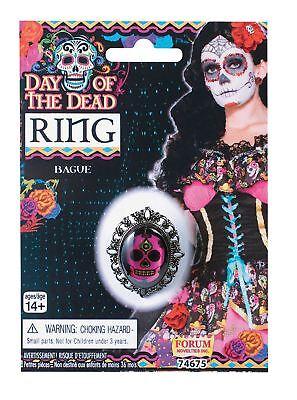 Der Ring Halloween (Tag der Toten Schädel Ring Halloween Kostüm Zubehör Schwarz Rosa)