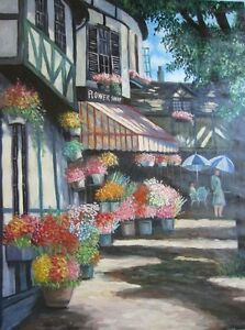 "Huge Oil Painting 36""x48"" Flower Shop Scene MUST SEE!"