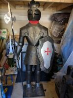 Black Metal Knight ( APPROX 6 FEET) with a Spear for Sale