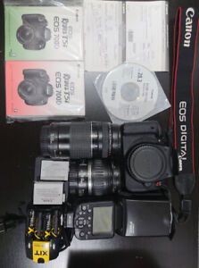 Canon EOS T5i Rebel + lentiles Canon 18-55mm/75-300mm + Flash