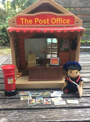 Calico Critters Sylvanian Families Vintage Post Office w/ Mail Man Mail Box