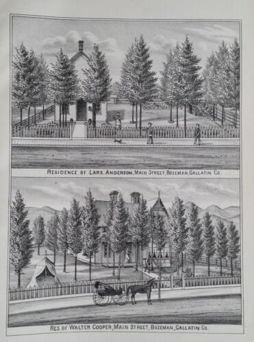 Orig 1885 Lars Anderson & Walter Cooper House Print Bozeman Mt Montana Territory