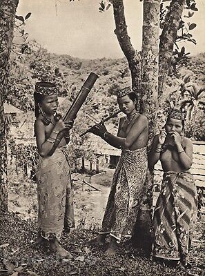 1940 BORNEO FEMALE NUDE Women Breasts Music Bamboo NOSE FLUTE Harp Fashion WONG