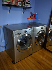 Stainless steel LG front loading washer and dryer