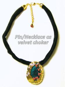 Black velvet choker necklace or broach