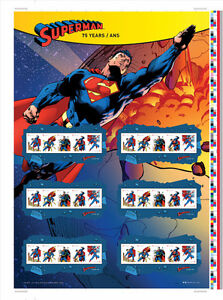2013 Superman 75th Anniversary Uncut Press Stamp Sheet