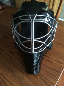 Used, Large Hackva Goalie Helmet with a Double-Bar Cat Eye Cage.