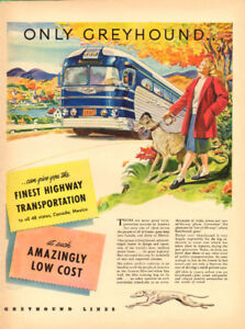 1947 large vintage magazine ad for Greyhound Bus Lines
