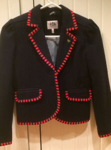 Juicy Cutoure  girls wool blazer navy red detail gold buttons