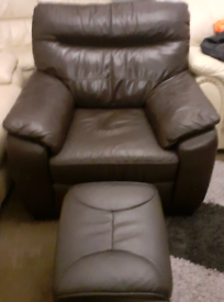 Brown Leather Armchair & Footstool