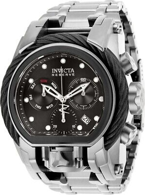 Invicta Reserve Mens Bolt Zeus Magnum 52MM Black Dual Dial SS Bracelet Watch