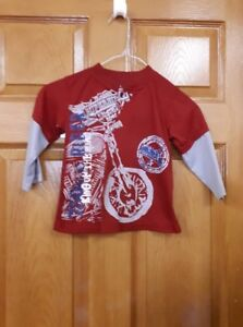 Boy's Red and Grey  Motorcycle Shirt  Size: 4
