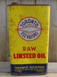 VINTAGE 1960's TORONTO ELEVATORS RAW LINSEED OIL (9 LB.) CAN