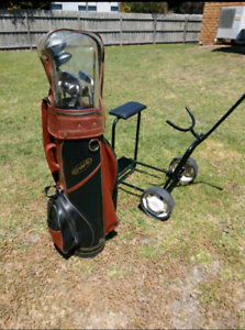 Big Brother Tour LH Golf Clubs. Cart with seat & bag.