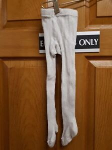White Ribbed Tights Size: 12M