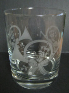 Christmas FRENCH HORN Old Fashioned size Crystal Glasses Set 4