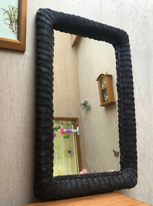 Beautiful Large Mirror with Rattan Frame
