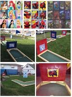 Portable 9 hole mini putt for rent is now themed