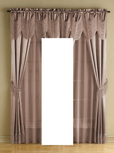 "McLeland Design Halley 56"" x 84"" One-Rod Drapery Sets Mauve, New"