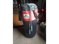 Boxing punchbag and skipping rope