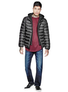 GUESS Quilted Puffer Jacket with Fleece Hood