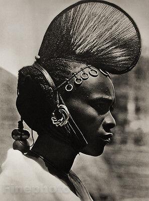 1952 Vintage AFRICA ~ Black Negro FEMALE Portrait Hair Fashion Jewelry Photo Art