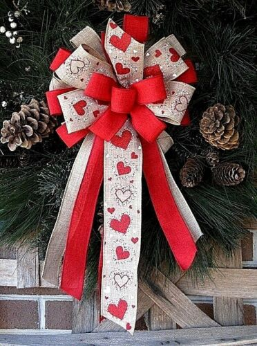 HANDMADE VALENTINE HEART BOW WIRED BURLAP RIBBON WREATH LANTERN POST #7 rb