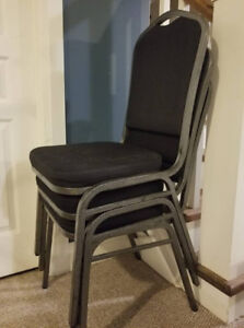3 stackable banquet chairs, BLACK