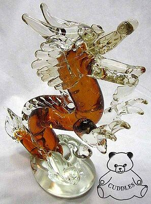 Chinese Golden Dragon Glass Animal Paperweight Dynasty Paper Weight Fantasy New