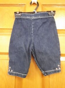 Girls Jean Capris with Pink Flowers Size: 18 Months