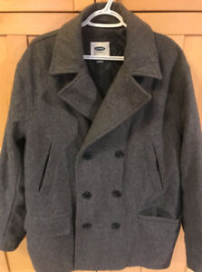 **MEN'S GREY WOOL BLEND PEA COAT FOR SALE-SIZE XL**