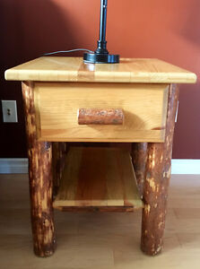 Amish Log Furniture - 2 End Tables/Night Stands with Drawers