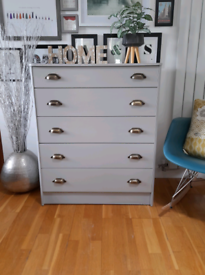 Beautifully Refurbished Tall Solid Wood Vintage Grey Chest of Drawers