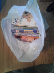 big bag of VHS movies mostly disney and kids