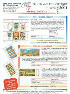 1ère partie de la Collection annuelle de timbres de MONACO-2001.