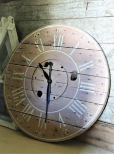 LARGE RUSTIC DECOR CLOCK, SOLID WOOD, HAND CRAFTED