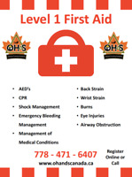 Level One Occupational First Aid Courses