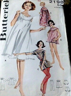 LOVELY VTG 1950s NIGHTGOWN LOUNGE OUTFIT BUTTERICK ADVANCE Sewing Pattern 18/38